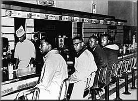 February 1, 1960 four African American students from North Carolina Agricultural and Technical College sat at a segregated lunch counter that was usually reserved for only whites in Greensboro, NC.